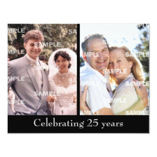 Past and Present Silver Anniversary 11 Cm X 14 Cm Invitation Card