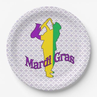 Past Present Future Mardi Gras Party Paper Plate