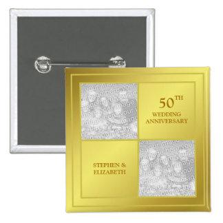 Past & Present Photo Golden Anniversary (Shiny) 15 Cm Square Badge