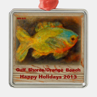 PAST YEARS**2013**Ornament: GulfShores/OrangeBeach Silver-Colored Square Decoration