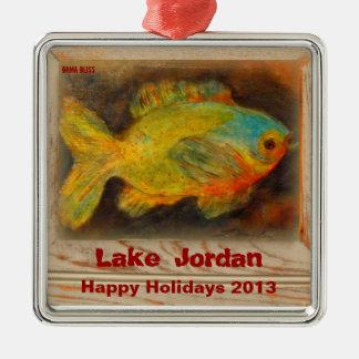 "PAST YEARS**2013**Ornament ""Lake Jordan"" Alabama Silver-Colored Square Decoration"