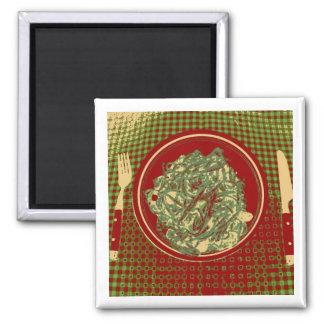 Pasta Ala Pesto! Square Magnet