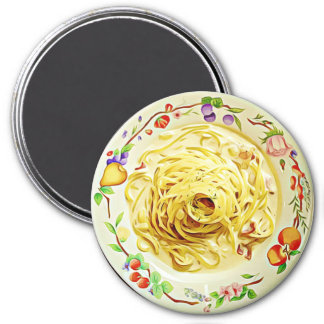 Pasta Alfredo Spaghetti Food Refrigerator Magnet