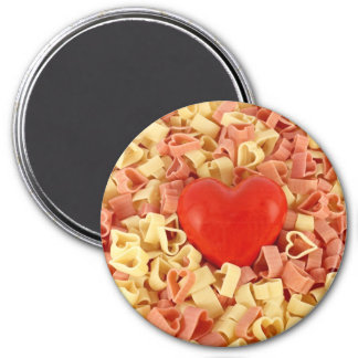 Pasta and a heart 7.5 cm round magnet