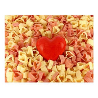 Pasta and a heart postcard