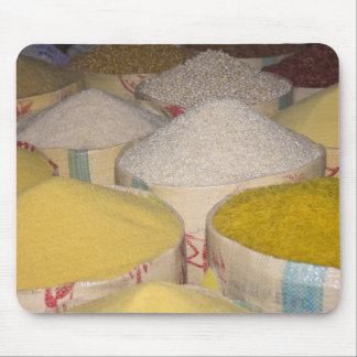 Pasta, grain and rice in sacks at the souk in mouse pads