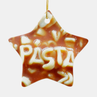 Pasta letters spell pasta christmas ornament