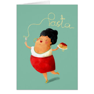 Pasta loving Lady Card