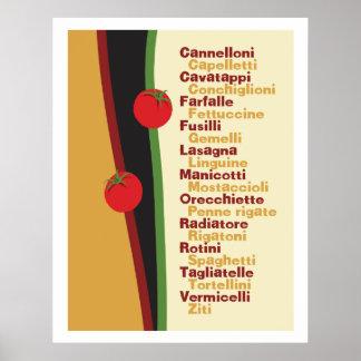 Pasta Names Kitchen Art poster