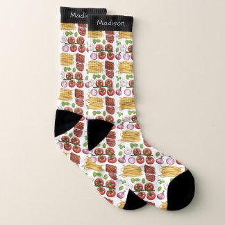 Pasta Pattern custom name socks 1