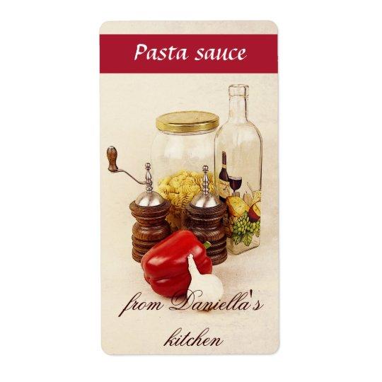 Pasta, salt, pepper and garlic pasta sauce label shipping label