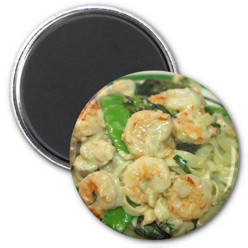 Pasta Shrimp Peapods Fridge Magnet
