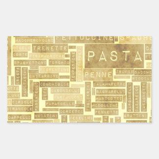 Pasta Types and Assorted Variety of Pastas Rectangular Sticker