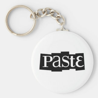 Paste Block Logo Black Basic Round Button Key Ring