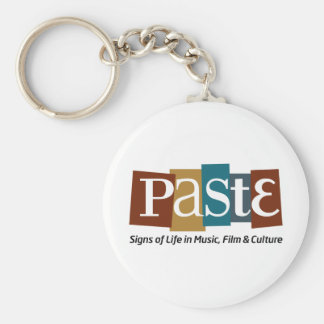 Paste Block Logo Tag on Bottom Color Basic Round Button Key Ring