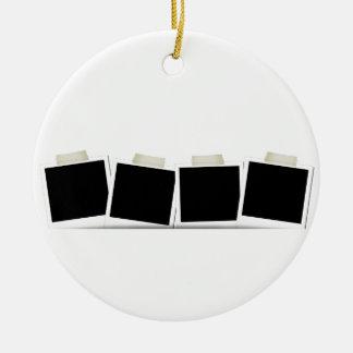 Pasted Polaroids Round Ceramic Decoration