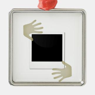 Pasted Polaroids Silver-Colored Square Decoration