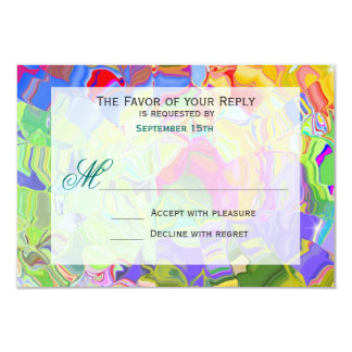 Pastel Abstract Art Wedding RSVP Response Cards