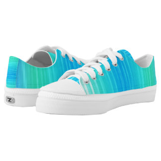 Pastel Abstract Turquoise Blue Green Pattern Low Tops