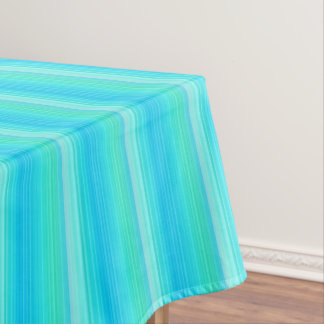 Pastel Abstract Turquoise Blue Green Stripes Tablecloth