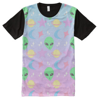 Pastel Alien Pattern All-Over Print T-Shirt