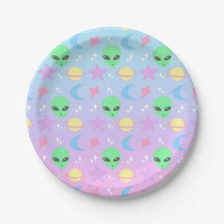 Pastel Alien Pattern Paper Plate