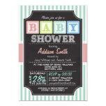 Pastel Alphabet Blocks Chalkboard look Baby Shower 13 Cm X 18 Cm Invitation Card