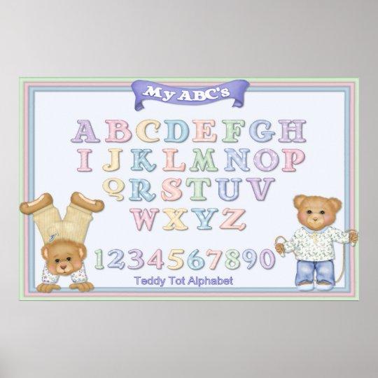 Pastel Alphabet Fun Teddy Bears Poster