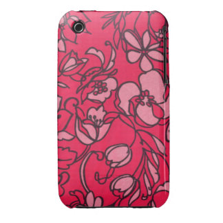 Pastel and Bright Pink Floral Pattern iPhone 3 Case