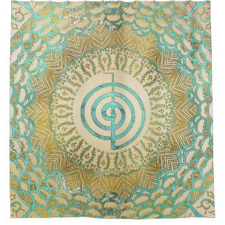 Pastel and Gold  Choku Rei Symbol in Mandala Shower Curtain