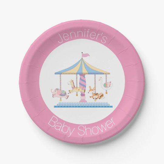 Pastel Animal Carousel Baby Shower Plate