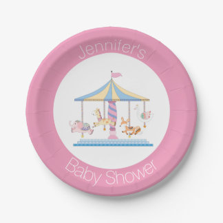 Pastel Animal Carousel Baby Shower Plate 7 Inch Paper Plate