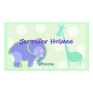 Pastel Animal Children's Calling Card Business Card Template
