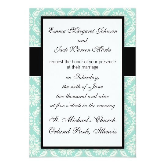 pastel aqua and cream fleur elegant damask card