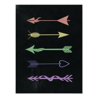 Pastel Arrows on Charcoal Art Print