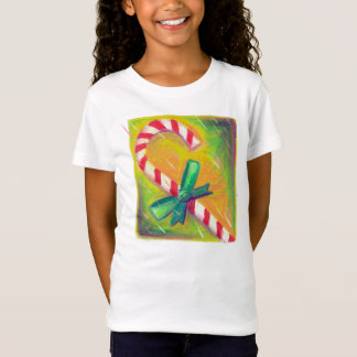 Pastel Art, Red White Striped Christmas Candy Cane T Shirts