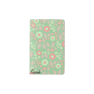 Pastel Autumn Flowers Pocket Notebook- Mint Pocket Moleskine Notebook