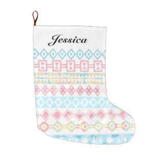 Pastel Aztec Print Holiday Custom Name Large Christmas Stocking