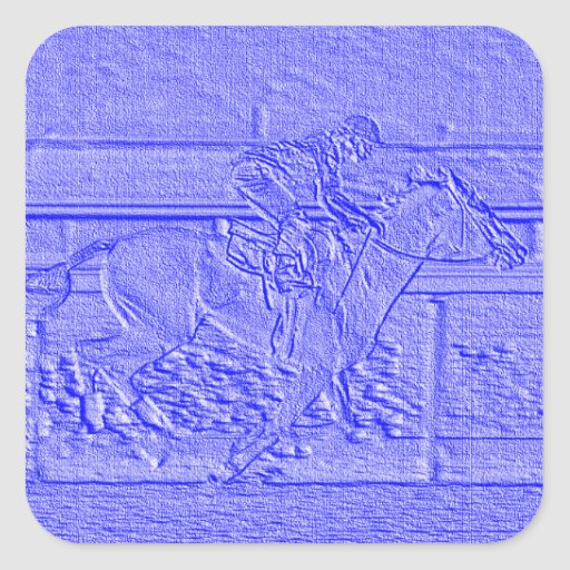 Pastel Baby Blue Thoroughbred Racehorse Square Stickers