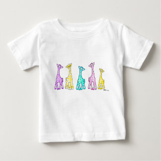 Pastel Baby Giraffes In A Row Baby T-Shirt