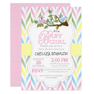 Pastel Baby Girl Squirrels  Baby Shower Card