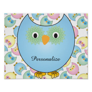 Pastel Baby Owl Nursery Theme in Blue Poster