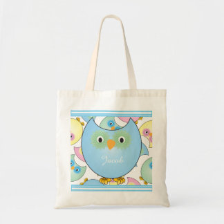 Pastel Baby Owl Nursery Theme in Blue Budget Tote Bag