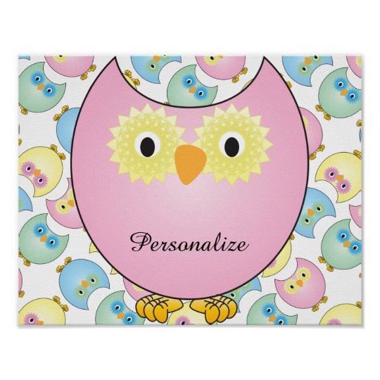 Pastel Baby Owl Nursery Theme in Pink Poster