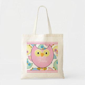 Pastel Baby Owl Nursery Theme in Pink Budget Tote Bag
