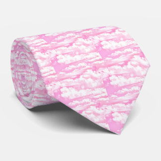 Pastel Baby Pink Happy Clouds Decor Tie