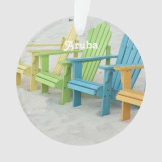 Pastel Beach Chairs in Aruba Ornament