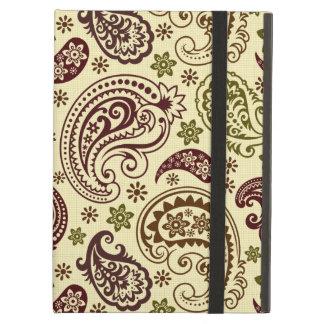Pastel Beige Green & Brown Vintage Paisley Pattern iPad Air Cover