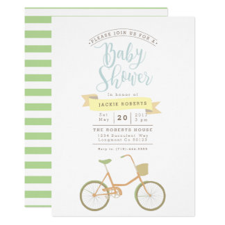Pastel Bicycle   Baby Shower Invite