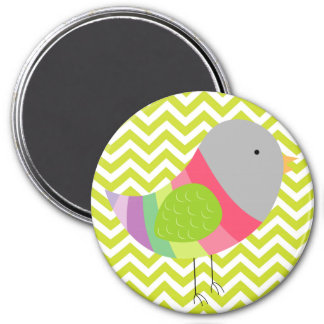 Pastel Bird on Green Chevron Stripe Pattern 7.5 Cm Round Magnet